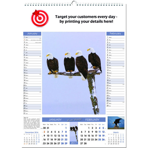 11034: World Wildlife Memo Wall Calendar