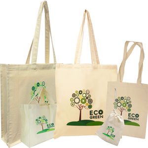 11483: 100% Natural Eco Green Cotton Shoppers