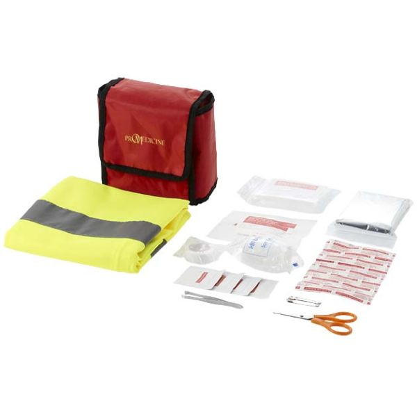13396: 19-piece first aid kit with safety vest